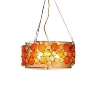 OK LIGHTING 9 in. Antique Brass Capiz Shell Pendant Lamp OK 5119 H2