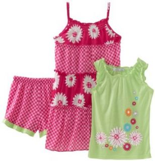 Komar Kids Girls 7 16 Pink Daisy 3 Piece Pajama, Lime/Pink Floral, Small Clothing