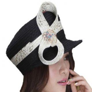 June's Young Fashion Church Hat for Women Satin Fabric Black Formal Dress Hat Ladies Church Hats