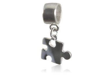 Autism Awareness Puzzle Piece Sterling Silver Dangle Charm Bead Fits European Bead Bracelets: Jewelry