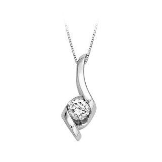 1/4 ct. Diamond Sirena Solitaire Pendant in 14K White Gold: Jewelry