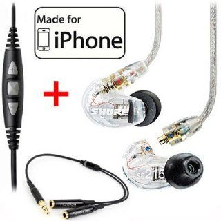 Shure SE215 CL Clear Earphones and CBL M +K Music Phone Cable with Remote and Mic for iPone, iPod and iPad Musical Instruments