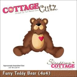 "CottageCutz Die 4""X4"" Furry Teddy Bear Cutting & Embossing Dies"