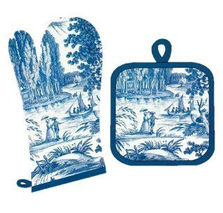 Toile Fabric French Country Decor Oven Mitt & Pot Holder Set Blue Toile Cotton