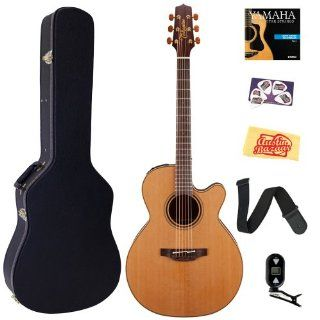 Takamine P3NC Pro Series 3 NEX Style Acoustic Electric Guitar Bundle with Hardshell Case, Tuner, Strap, Strings, Picks, and Polishing Cloth   Natural