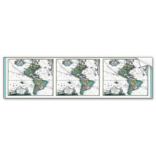 1725 South and North America Map Bumper Sticker