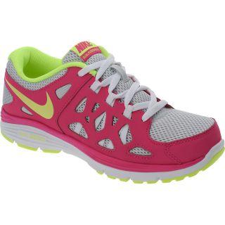 NIKE Girls Dual Fusion Run 2 GS Running Shoes   Size 5, Pink/yellow