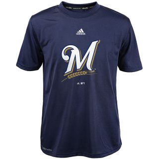 adidas Youth Milwaukee Brewers ClimaLite Team Logo Short Sleeve T Shirt   Size: