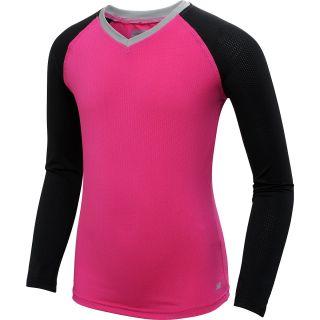 NEW BALANCE Girls Amplify Long Sleeve Shirt   Size Large, Pink/black