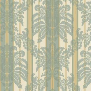 The Wallpaper Company 56 sq. ft. Blue Suede Damask Stripe Wallpaper WC1282659