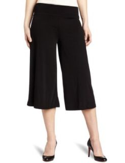 AGB Women's Solid Ity Wide Waist Gaucho Pant, Black, Small