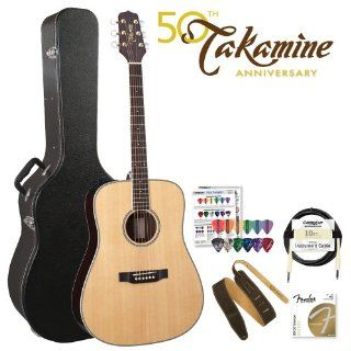 Takamine EG536S HB G Series Dreadnought Acoustic Electric Guitar with Hard Shell Case. Includes Fender 70CL Guitar Strings, Fender 10ft Cable, Takamine Suede Strap & Planet Waves/GoDpsMusic Pick Sampler Musical Instruments