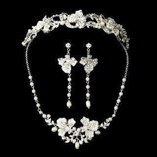 Kamila Freshwater Pearl & Crystal Wedding Bridal Tiara & Jewelry Set : Fashion Headbands : Beauty