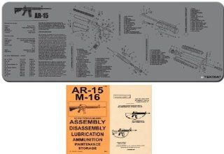 Ultimate Arms Gear Grey Gray Gunsmith & Armorer's Cleaning Work Tool Bench Gun Mat Assembly Disassembly For AR15 AR 15 AR 15 M4 M16 Rifle + .223 556 5.56 MM Machine Gun Technical Manual Book Official US Army Military Reproduction  Gunsmithing Tool