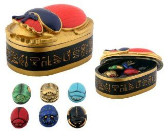 Egyptian Scarab Box with Scarabs Collectible Figurine Container Statue   Egptian Artifacts