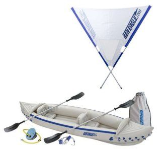 NEW Sea Eagle SE370 Kayak Deluxe 3 Person Inflatable Sport Kayaks Boat with Sail  Sports & Outdoors