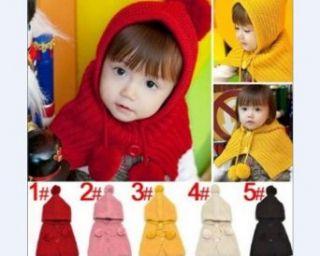 Baby Kids Girl Boy Lovely Yellow Knit Crochet Cloak Hat Cap Coat Scarf Set Clothing