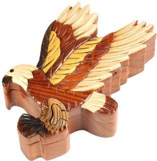 American Bald Eagle Patriotic Bird Decor Hand Crafted Wood Inlay Puzzle Jewelry Box   Hat Hooks