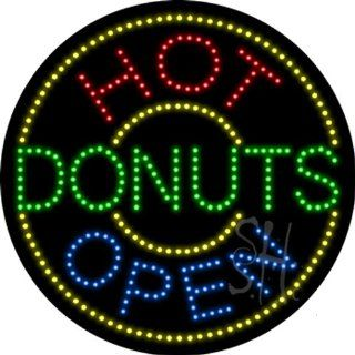 "Hot Donuts Outdoor LED Sign 26"" Tall x 26"" Wide x 3.5"" Deep : Business And Store Signs : Office Products"
