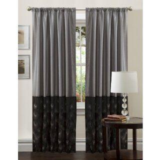Lush Decor 54 Inch by 84 Inch Ovation Panel, Black/Silver   Window Treatment Panels
