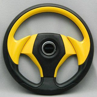 PU Universial 320mm 6 Holes Racing Steering Wheel Yellow With Horn Button Automotive