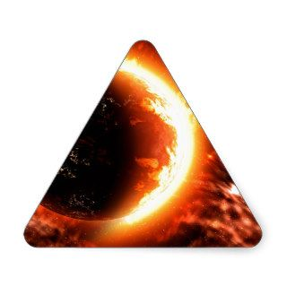 Planet on Fire   Hot Image Triangle Stickers