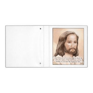Sepia Jesus Art Bible Quote   Colossians 3:17 Vinyl Binder