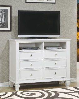 Sandy Beach White TV Dresser by Coaster Furniture: Furniture & Decor