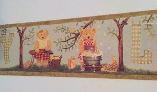 Wallpaper Border Country Teddy Bear with Cats Laundry Time Laundry Room
