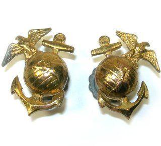 World War II U. S. USMC Marine Corps Collar Insignia Screwback Pin Set: Everything Else