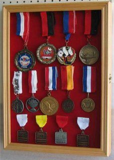 Sport / Military Medals, Pins, Patches, Ribbons Display Case Cabinet, MPC01(RED) OA : Sports Award Medals : Sports & Outdoors
