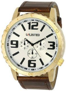 UNLISTED WATCHES Men's UL1245 City Streets Round Gold Case White Dial Brown Strap Watch at  Men's Watch store.