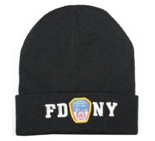 FDNY Winter Hat Police Badge Fire Department Of New York City Black & White One Size at  Men�s Clothing store