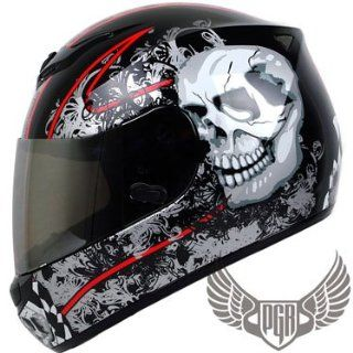 PGR AR01 IMMORTAL SKULL DOT APPROVED Motorcycle Full Face Street Bike Helmet (XXL, BLACK) Automotive