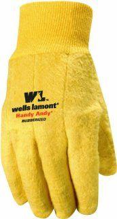 Wells Lamont 635L Mens Chore Glove, Rubber Lining, 16 Ounce Knit, Brown, L Golden Brown  Work Gloves  Patio, Lawn & Garden