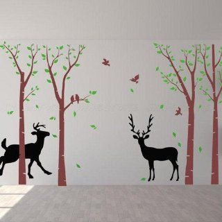 Two Lover Deers Deer Bucks Doe Tree Leaf Bird House Home Art Decals Wall Sticker Vinyl Wall Decal Stickers Living Room Bed Baby Room 637   Wall Decor Stickers