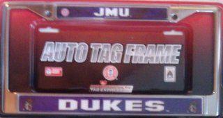 James Madison Dukes JMU LBL Metal Chrome License Plate Tag Frame University Of Automotive