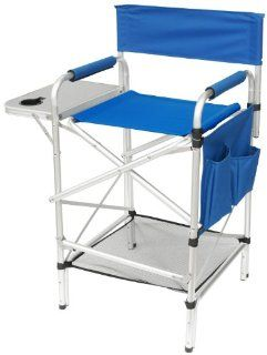 """World Class Tall """"SPLIT BACK ROYAL BLUE"""" Heavy Duty Folding Directors Chair with Side Table, Cup Holder, Foot Rest, Dual Pocket Side Storage Bag, AND NEW UNDER SEAT STORAGE NET Sports & Outdoors"""