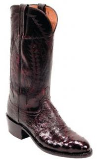 Lucchese N1014 Men's Blackcherry Full Quill Ostrich Goat Boots Shoes