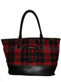 Tommy Hilfiger Women's Tote Handbag, Red Plaid/Black Clothing