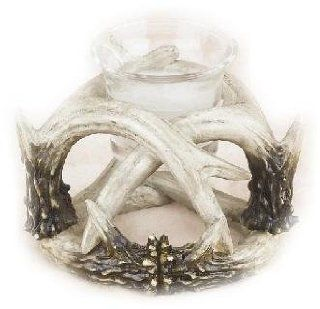 4 Inch Brown and White Deer Antler Design Single Candle Holder   Candleholders