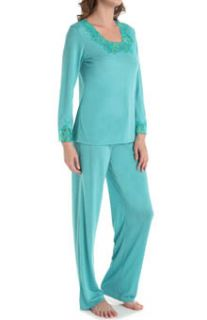N by Natori Sleepwear VC6016 Congo with Lace Longsleeve Pajama Set