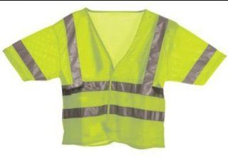Berne Apparel HVV041YWR680 6X Large Regular Hi Visibility Short Sleeve Vest Mesh   Yellow: Health & Personal Care