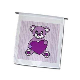 3dRose fl_15378_1 Valentines Day Cute Purple Teddy Bear Holding Heart Garden Flag, 12 by 18 Inch : Outdoor Flags : Patio, Lawn & Garden