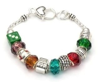 Casino Theme Charm Bracelet. Standard 7.5 inches long.: Jewelry