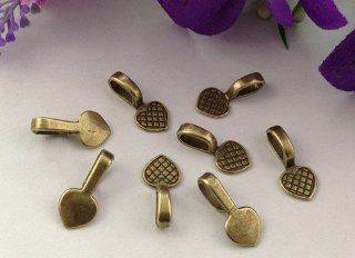 100PCS Antiqued Bronze Metal Heart Glue on bail charms A11586B