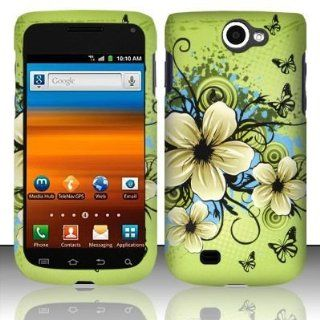 Green Flower Design Snap On Protector Hard Case for T MOBILE SAMSUNG EXHIBIT II / 2 4G T679: Cell Phones & Accessories