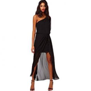 Womens Casual Fashion Sexy Black Chiffon Summer Prom Party Maxi Long Shirt Dress