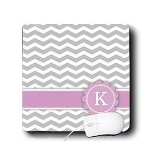 mp_154256_1 InspirationzStore Monograms   Letter K monogrammed on grey and white chevron with pink   gray zigzags   personal initial zig zags   Mouse Pads : Office Products