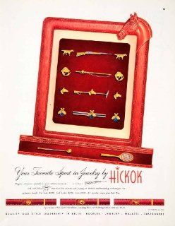 1950 Ad Hickok Mens Jewelry Sport Tie Bar Cuff Link Belt Hunting Fishing Bowling   Original Print Ad
